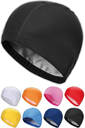 SQUATCH® | Bonnet de Bain Piscine Natation | Mixte Adulte Homme-Femme | Tissu PU Souple et Confortable | Facile à Enfiler | 8 Couleurs (Noir)