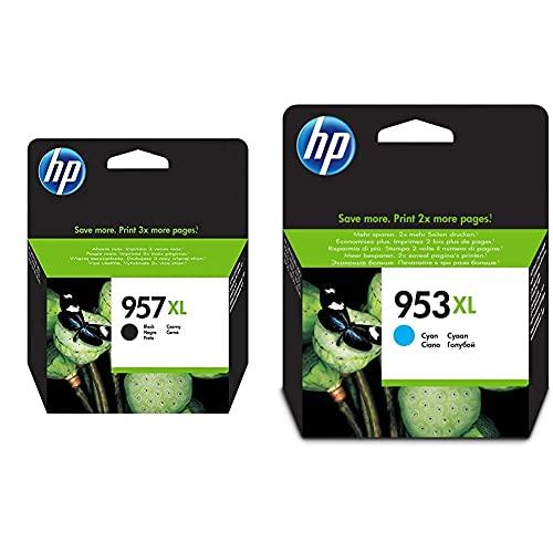 HP 957XL L0R40AE Negro, Cartucho de Alta Capacidad Original, de 3.000 páginas + 953XL F6U16AE, Cian, Cartucho de Tinta de Alta Capacidad Original