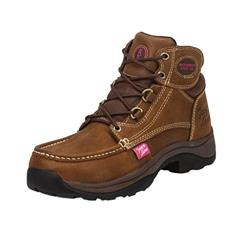 Tony Lama Women's 3R Tuscola Lace-Up Work Boot Steel Toe Brown 7.5 M