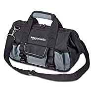 30.5 cm tool bag with 16 pockets: 9 internal and 7 external; ideal for home, workshop, or job site Provides space for storing hand tools and other small to medium items; 2 smooth zippers for easy opening / closing Black and grey 600D Oxford cloth ext...
