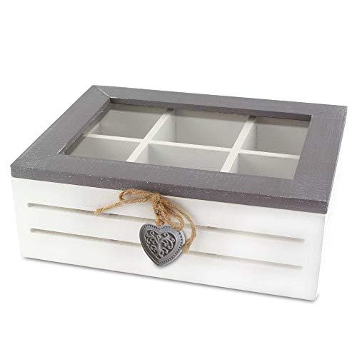 MC-Trend Teebox Kiste für Teebeutel, 6 Fächer aus Holz/Glas in wunderschönem Vintage Design