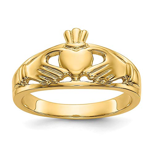 14k Yellow Gold Ladies Irish Claddagh Celtic Knot Band Ring Size 7.00 Fine Jewellery For Women Gifts For Her