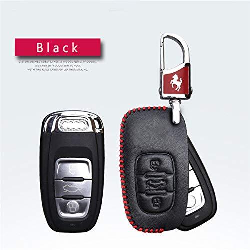 LINGZIA Anillo de Llavero de Estilo de Coche, Funda de Cuero para Llave de Coche, para Audi A3 A4 A4L A5 A6 A6L A7 A8 Q5 S5 S7 B6 B7 B8 C5 C6 Q7, Inserto en línea roja
