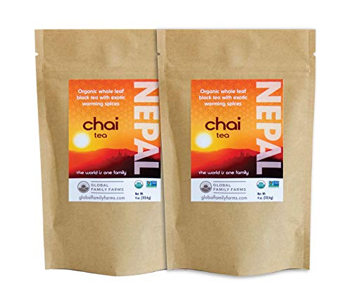 Global Family Farms Organic Chai Tea (2 bags of 4 Oz each) | Non-GMO verified, All Natural