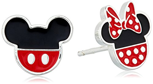 Pendientes de plata de ley Disney Mickey y Minnie Mouse esmaltados