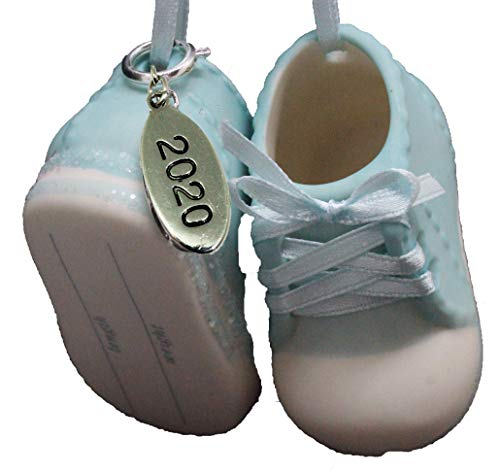 Twisted Anchor Trading Co Baby Boy Shoe Personalized Ornament Babys First Christmas Ornament 2020 Blue Baby Booties - Can Be Personalized - with Gift Box