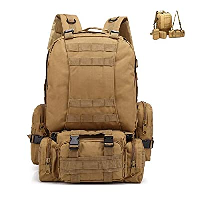 Tactical Backpack 55L Outdoor Backpack, Molle Military Backpack ,Rucksack Sports Bag, Waterproof Camping Hiking Backpack with 3 Detachable Bags