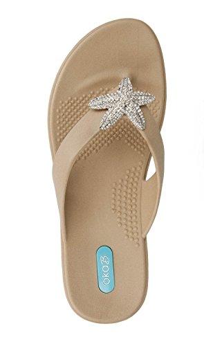 Oka-B Women's Oliver Flip Flop Sandal (Medium-Large, Chai)