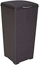 Keter 231478 Large Outdoor Trash Can with Lid Perfect for Backyard Hosting, Patio and Kitchen Use, Espresso Brown