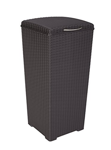 Keter 231478 Large Outdoor Trash Can with Lid Perfect for Backyard Hosting, Patio and Kitchen Use, 15 in. W x 15 in. D x 33.3 in. H, Espresso Brown