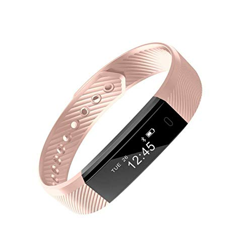 LYB ID de moda 115 Smart Band reloj fitness actividad pulsera Bluetooth calorías paso deportes para Android IOS rosa