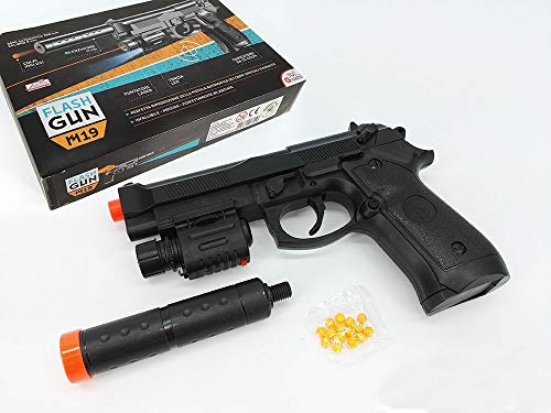 Pistola giocattolo calibro 9 semi automatica 25mm con silenziatore da 11cm con Pallini Calibro 6mm, puntatore laser e torcia led Caricatore da 14 colpi inclusi giocattolo per bambini