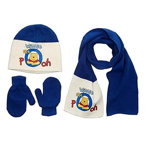 Winnie Puuh Mütze Fäustlinge und Schal Handschuhe (Creme-Blau, 48-50)