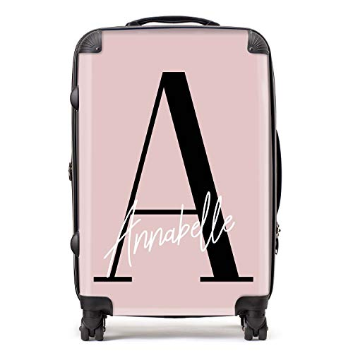 Personalised Dusty Pink & Black Initial Large Monogram Handwritten Custom Suitcase with TSA Lock 4 Spinner Wheels Luggage 68cm 80Ltr