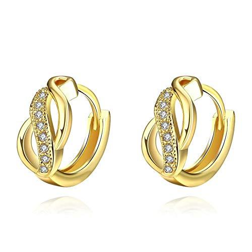 Daesar Pendientes Mujer,Pendientes Geométrico Hueco Circonita Blanca Pendientes Chapado En Oro Mujer Oro