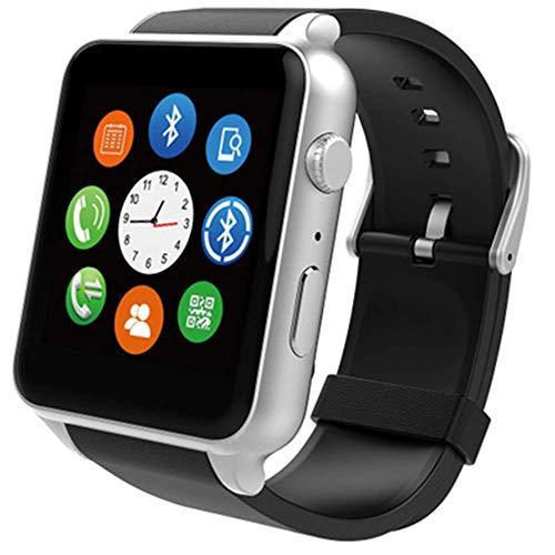 AYDQC Reloj Inteligente con/Ranura de la Tarjeta SIM de la cámara de Llamada/Mensaje sedentario Recordatorio podómetro Reproductor de música Compatible Reloj de Pulsera fengong (Color : Silver)