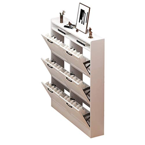 Armario Zapatero Rack de Zapatos Puerta Simple Hogar Multi-Capa de Alta Capacidad Interior pequeño y Estrecho Zapato Ultrafino. Organiza Tus Zapatos (Color : White, Size : 120x17x120cm)