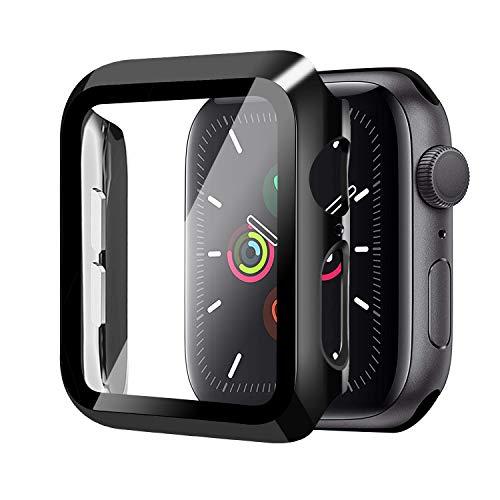 Funda para Apple Watch 44mm Serie 6/Serie SE/Serie 5/Serie 4+Cristal Templado, Qianyou PC Case y Vidrio Protector Pantalla Integrados, Anti-Rasguños Slim Bumper Case Cover para iWatch (Negro)
