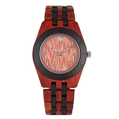 UIOXAIE Reloj de Madera Reloj de Madera Vintage Reloj de Pulsera de Cuarzo Informal Reloj de Pulsera de Madera Natural Completo Reloj Masculino Reloj de Pulsera con Brazalete de Moda