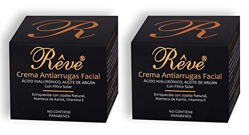 REVE Pack de 2 Cremas Antiarrugas Facial Argán con Ácido Hialurónico + Molecular Film + Vitamina E + Manteca de Karite + FPS15 + Aloe Vera Sin Parabenes - Hombre y Mujer, Día y Noche - (2 x 55 ml)