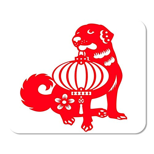 Mousepad Computer Notepad Office Abstrakt Red Cut Hund Tragen Chinesische Laterne Sternzeichen Symbole Design Altes Tier Home School Game Player Computer Worker