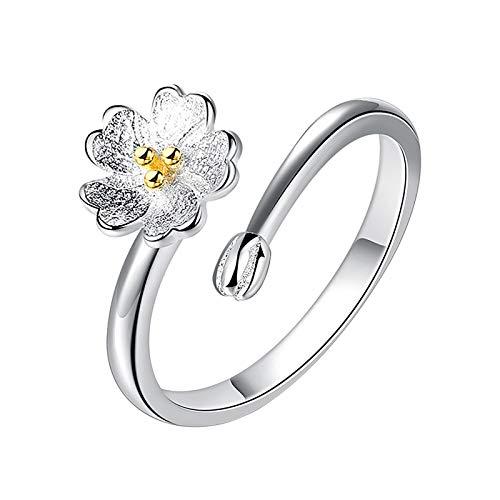 minjiSF Anillo de flores para niñas y mujeres, abierto, ajustable,
