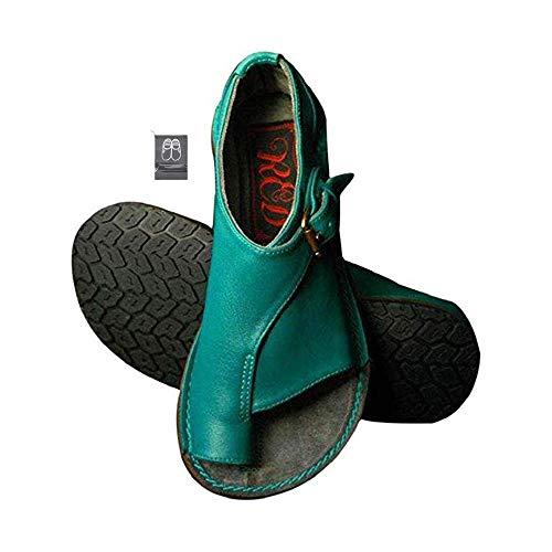 Chickwin Sandalias Mujer Planas Cómodos, Zapatos de Verano Planas Bohemias Elegant Zapatos de Playa Moda Fiesta Cuero Slingback Peep Toe Talla Grandes Plataforma Cuña (CN41=255mm,Azul)