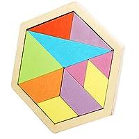 Tomaibaby 子供のための木製六角形パズルカラフルな形状ブロックジグソーパズル脳の体操モンテッソーリ教育玩具ジオメトリロジックタングラムパズルギフト子供のため
