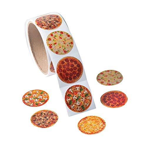 Fun Express 1 Roll ~ Photo Pizza Stickers ~ 100 Round 1.5 Paper Stickers ~ New/Shrink-wrapped by FX/OT
