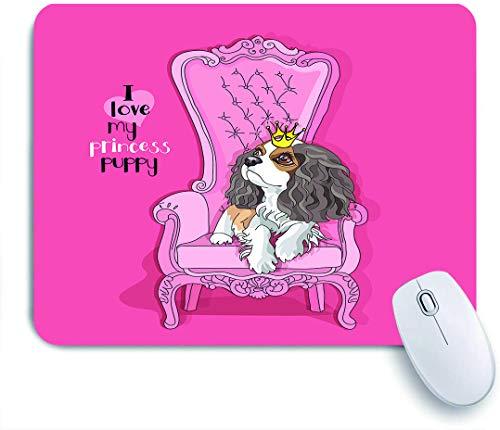 QINCO Gaming Mouse Pad Rutschfeste Gummibasis,Cavalier King Charles Spaniel Welpe mit einer Prinzessin Krone auf einem rosa Sessel,für Computer Laptop Office Desk,240 x 200mm