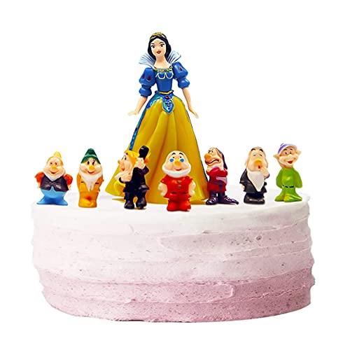 BESTZY Blancanieves eI Siete Enanitos Figuras Mini Cute Figure de Colección Juguetes Cake Topper Decoraciones Niños Fiesta de Cumpleaños Figuras de Acción 8 pcs