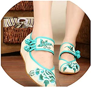 Spring Women Canvas Ballet Flats Vintage Embroidered Pointed Toe Handmade Breathable Cotton Fabric Shoes