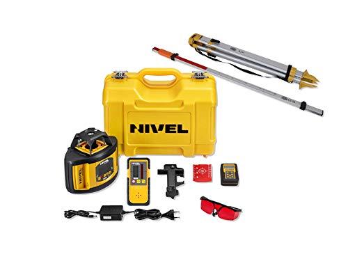 Baulaser Nivel System NL540 Rotationslaser mit% Eingabe für horizontale/vertikale Anwendung, viel Zubehör (Empfänger, Funk-Fernbedienung, Stativ, Laser-Latte, stabiler Koffer, Li-Ion Akku, Ladegerät)