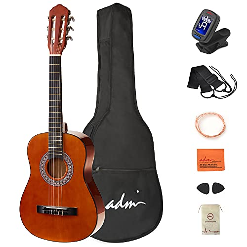 ADM Beginner Acoustic Classical Guitar 1/2 size 34 Inch Nylon Strings Wooden Guitar Bundle Kit for Kids Students with Carrying Bag & Accessories, Sunset
