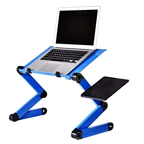 WSJTT Aluminum Alloy Laptop Table Adjustable Portable Folding Computer Desk Students Dormitory Laptop Table Computer Stand Bed Tray