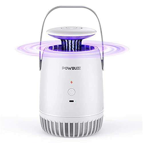 POWBUZZ Lámpara Antimosquitos Exterior y Interior, Camping Lámpara Mosquito Eléctrico Portátil, USB Multi-Insectos Trampa contra Mosquitos, Moscas, Insectos (Blanco)