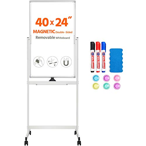 Yaheetech Mobile Whiteboard Large 360° Reversible Double Sided Dry Erase Board 40x24 Magnetic White Board on Wheels Portable Rolling Easel Stand with Flip Chart Holders