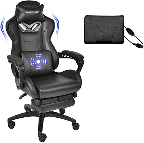 Fullwatt Gaming Chair Massage Office Chair with Footrest and Massage Lumbar Support High Back computer Gamer Chair Swivel Reclining PU Leather Video Game Chair Sports Racing Chair Large Size(Black)