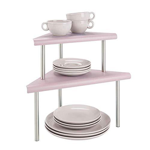 HMJ Moderne 3-lagige Küchenarbeitsplatte aus Metall und Eckschrank mit Vorratsschrank-Rosa