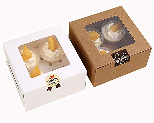 Chilly Cupcake Boxes, Pastry and Cookie Box, Cupcake Containers Carriers Bakery Cake Box with Stickers and Window, 5 Kraft and 5 White, Set of 10 (4 Holders)