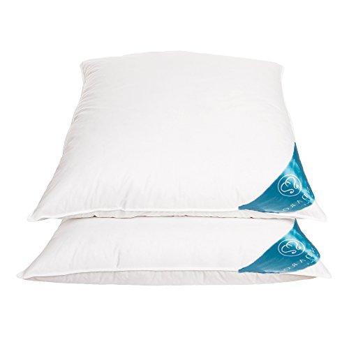 Sandaro Home Kopfkissen 80x80 Daunen-Federnkissen 2er Set, 80 x 80 cm 3 Kammern (1600gramm),100% Naturprodukt in reinem Baumwollbezug, Ultra Comfort Sleeping Pillow