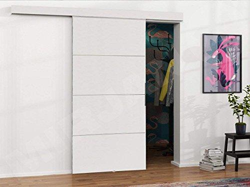 Mirjan24 Schiebetürsystem Multi Plus Komplett-Set für Schiebetüren Trennwände, Innentüren (Weiß, Modell 90, mit Selbstschließer) - 3