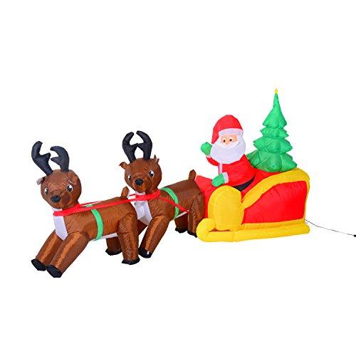 homcom Babbo Natale con Renne Gonfiabile a LED, 210x80x120cm