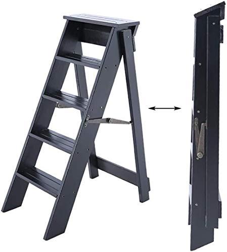 Pared pintura Madera hogar Escalera Plegable Multi-Uso Paso 5 Las escaleras del hogar, Cocina, Mercado, Oficina Taburete Cambiar Zapatos (Color : Black Walnut Color)