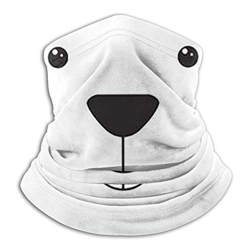 ShiHaiYunBai Tour de Cou Cagoule Microfibre Chapeaux Tube Masque Visage, Fleece Neck Warmer - Silly Polar Bear Neck Gaiter Tube, Bandana, Headband & Beanie