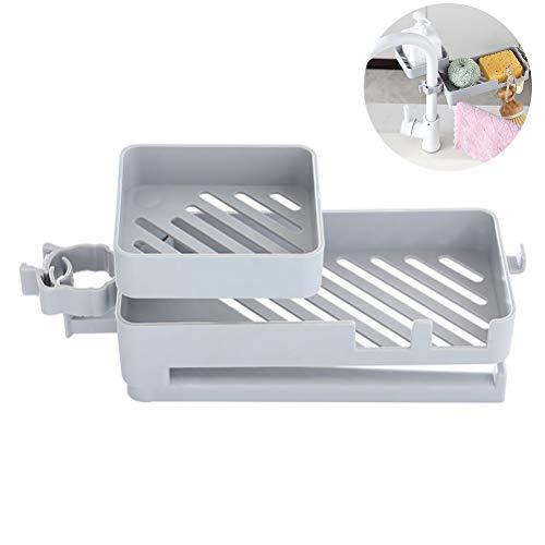 Rlevolexy Küchengeräte Double-Layer-Abfluss-Rack für Hahn Rotating Sink ablassen Ständer Kunststoff-Halter für Seife Rag Schwämme