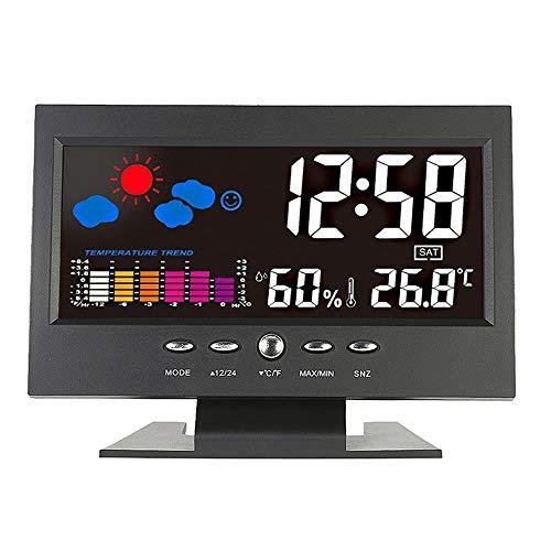 Lxfxin Hausgartenarbeit Multifunktions-Digital-LCD-Wecker Kalender Temperatur Hygrometer Bunte Wetterstation Uhren mit Hintergrundbeleuchtung Sprachsteuerung Uhr für Zuhause und Innen Dekoration