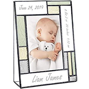Personalized Baby Picture Frame Green and Yellow Engraved Glass 4×6 Vertical Photo Nursery Decor Newborn Gift for Girl or Boy J Devlin Pic 430-46V EP530