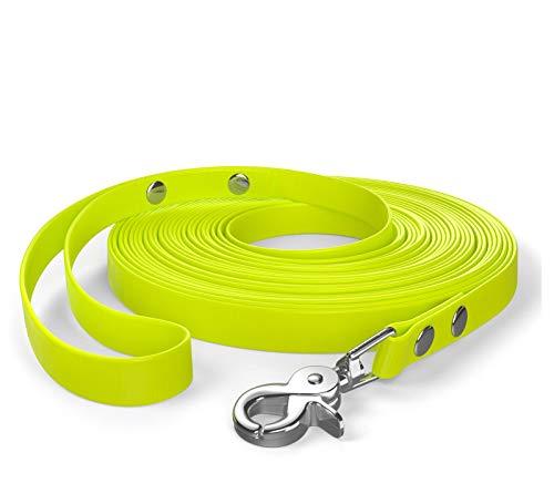 SNOOT 10m de Cable de Remolque, Correa para Perro, Lazo para la Mano, Amarillo neón, Muy Estable, Repelente a la Suciedad y al Agua.