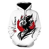 RENEO Sudadera Impresión Pullover Largas Sweatshirt,Dragon Ball 3D Impresión Pareja Suéter con Capuc...